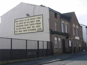 St Paul's Road Mission - the church with the big text, and home of our studios
